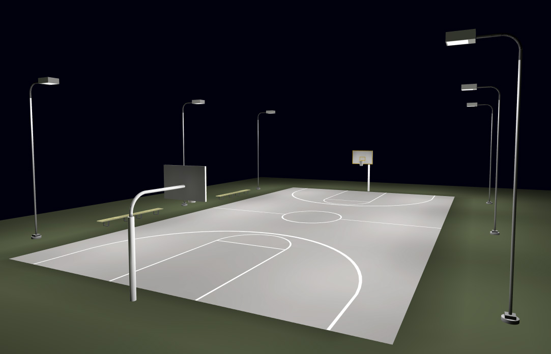 Basketball Court Lighting System - Full Court